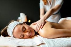 Massage therapist massaging beautiful brunette in a spa