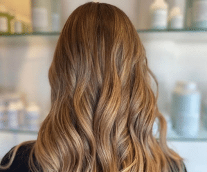 Blonde hair with curls